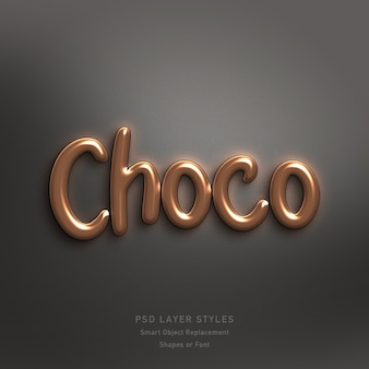 Choco tekststijl effect psd