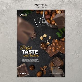 Chocolade concept poster sjabloon Gratis Psd