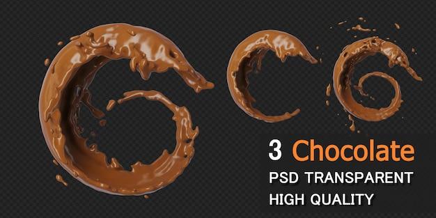 Chocolade splash cirkel rond frame in 3d-weergave geïsoleerd