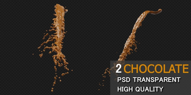 Chocolade splash rendering geïsoleerd