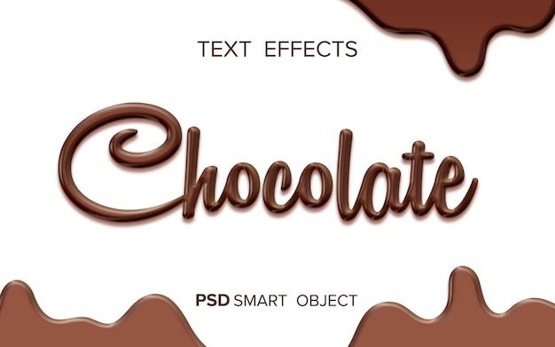 Chocolade vloeibaar teksteffect