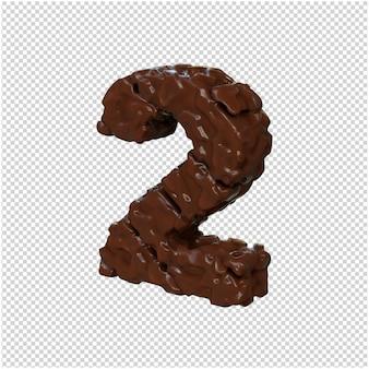 Chocoladenummers gedraaid naar links. nummer 2
