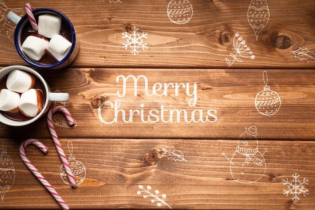 Chocolates calientes de navidad con espacio de copia