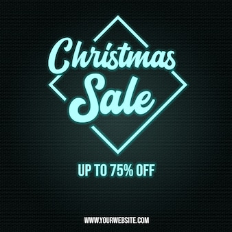 Chrismas sale poster banner in neon style effects