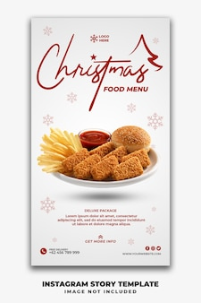 Christmas social media stories template restaurant voor fastfoodmenu