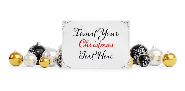 Christmas wenskaart op wit oppervlak met kerstballen mockup