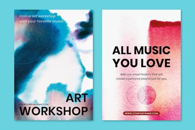 Chromatografie kleurrijke muziek sjabloon psd evenement advertentie poster dubbele set