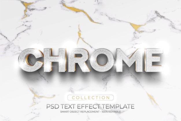 Chroom goud glanzend teksteffect en mockups logo sjabloon