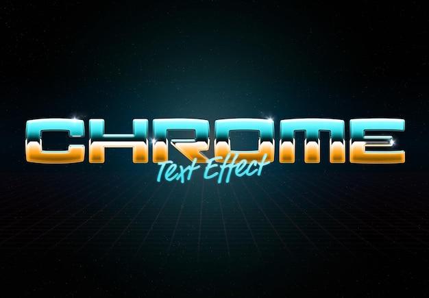 Chroommetaal teksteffect met glanzende reflectie mockup
