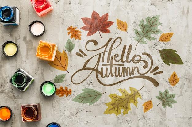 Ciao autunno artistico disegnare concetto