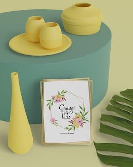 Ciao carta di primavera con design di vasi 3d