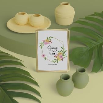 Ciao carta di primavera con vasi 3d