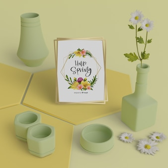 Ciao primavera card con il concetto di vasi 3d