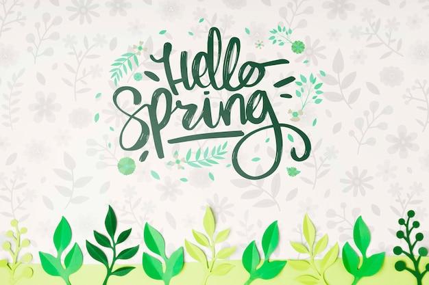 Ciao primavera lettering concetto di fondo