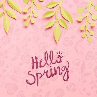 Ciao vista dall'alto concetto di primavera sullo sfondo