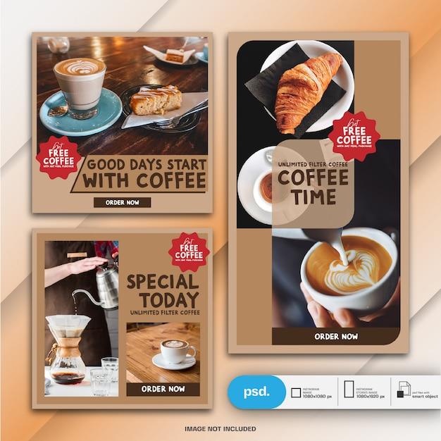 Cibo ristorante marketing instagram post e modello di storia o banner quadrato