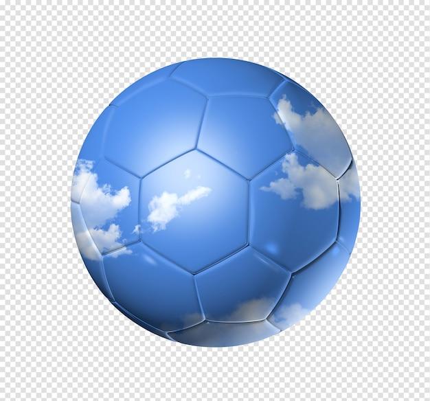 Cielo 3d su un pallone da calcio di calcio isolato su bianco con il percorso di residuo della potatura meccanica