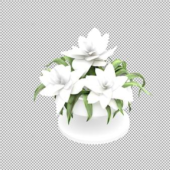 Cierre de flor en un jarrón en 3d rendering