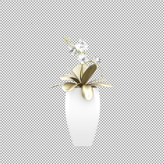 Cierre de flor en un jarrón de representación 3d