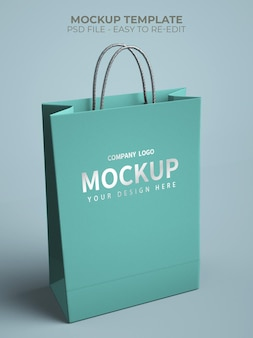 Cierre en maqueta de bolsa de compras con logo plateado