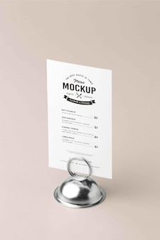 Cierre en maqueta de menú con soporte metálico