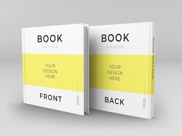 Cierre en maqueta de portada de libros cuadrados