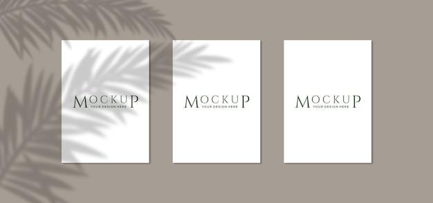 Ciérrese para arriba en maquetas de carteles con sombra vegetal