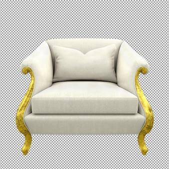 Ciérrese para arriba en el sofá de oro que rinde el frente del paño blanco aislado