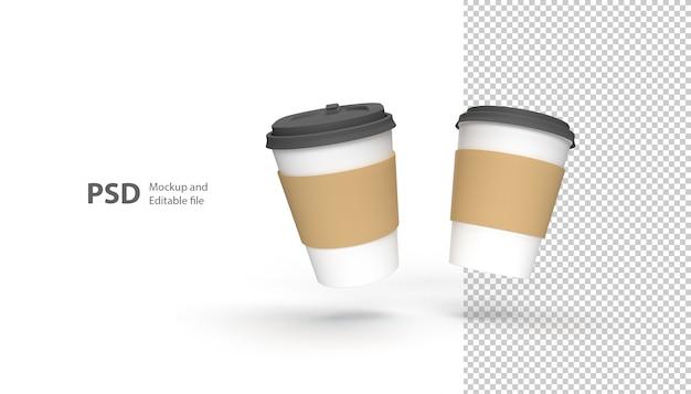Ciérrese para arriba en la taza de café aislada en la representación 3d