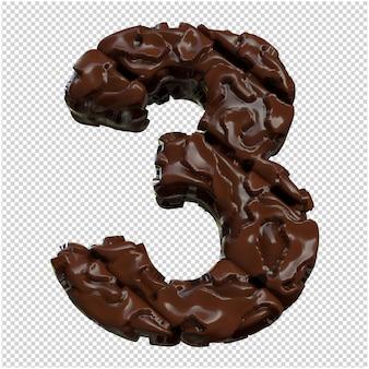 Cijfers gemaakt van chocolade. 3d-nummer