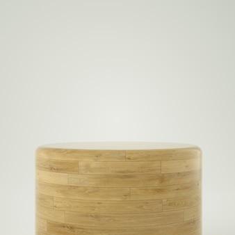 Cilindrisch houten podium in 3d-rendering