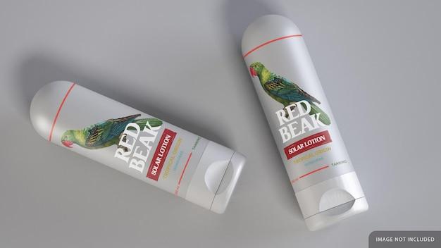Cilindrische crème fles mockup ontwerp met doos Premium Psd