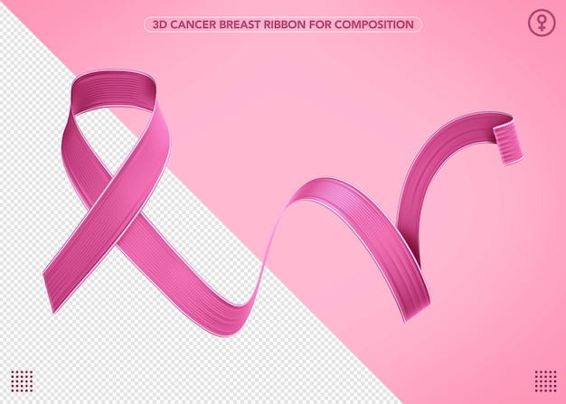 Cinta 3d realista de octubre rosa para composiciones