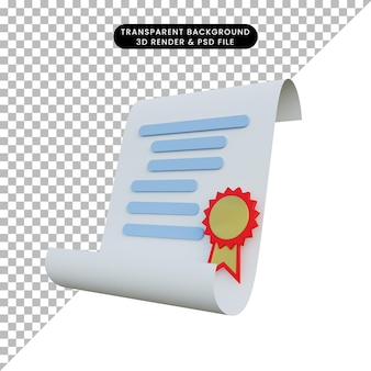 Cinta y papel de ilustración 3d certificado