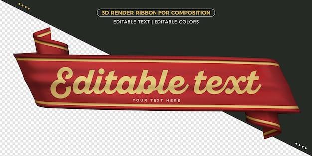 Cinta de renderizado 3d con texto editable