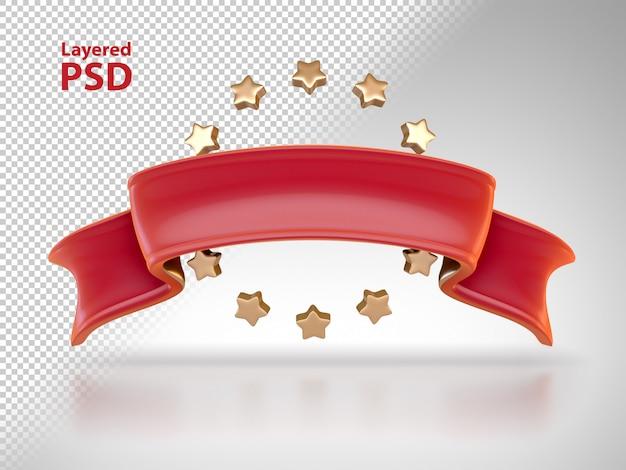 Cinta roja 3d con estrellas doradas
