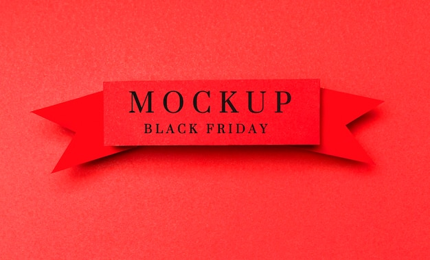Cinta sobre fondo rojo maqueta de ventas de viernes negro