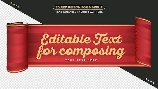 Cinta de tela 3d con texto editable para composición