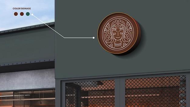 Circulaire bord mock up van een winkel