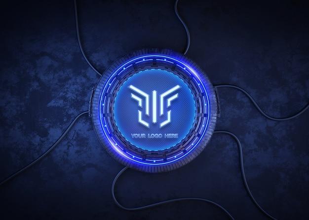 Círculo futurista para maqueta de logo.