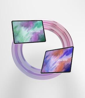Círculo de vidrio transparente con tabletas.