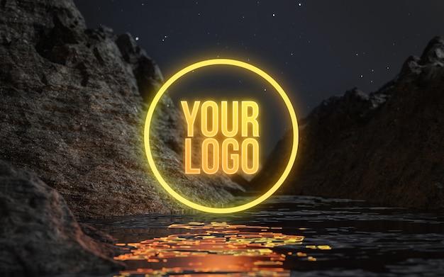 Cirkel neon water terrein nacht sterren logo mockup