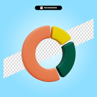 Cirkeldiagram 3d render illustratie geïsoleerd