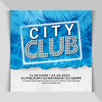 City club partij flyer
