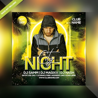 City night party flyer sjabloon