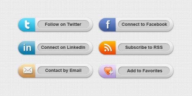 Clase social de los medios de comunicación botones de psd y png