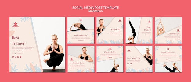 Clases de meditación instagram post template collection
