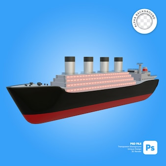 Classic cruise ship front look 3d-object