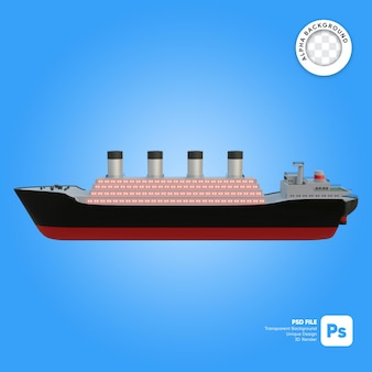 Classic cruise ship side view 3d-object