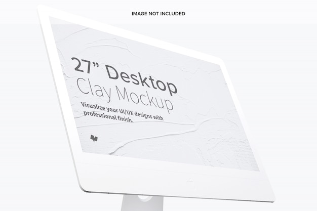 Clay display mockup, close up